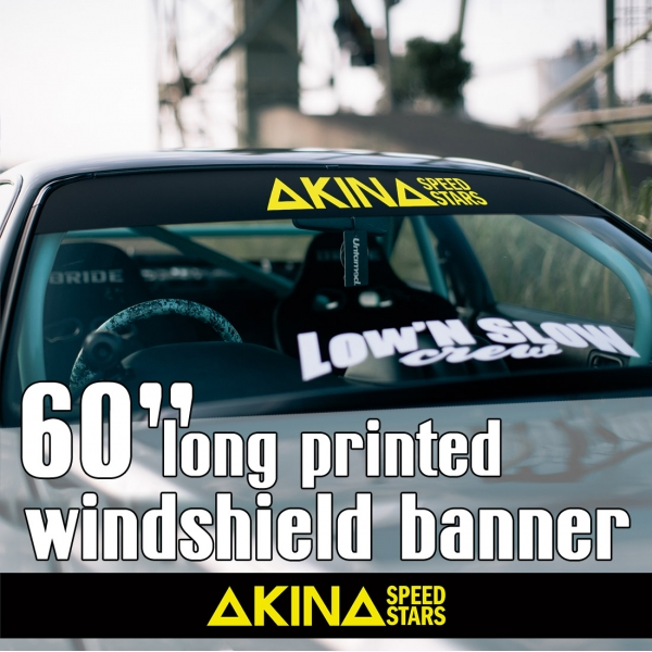 "60"" Akina Speed Stars v2 Team Initial D Fujiwara Anime Racing Nissan Silvia S13 180SX Toyota Corolla Levin Sun Strip Printed Windshield Car Vinyl Sticker Decal"