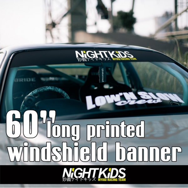 "60"" Myogi Night Kids Team v2 Initial D Skyline GT-R Civic SiR JDM Anime Manga Racing Sun Strip Printed Windshield Car Vinyl Sticker Decal>"