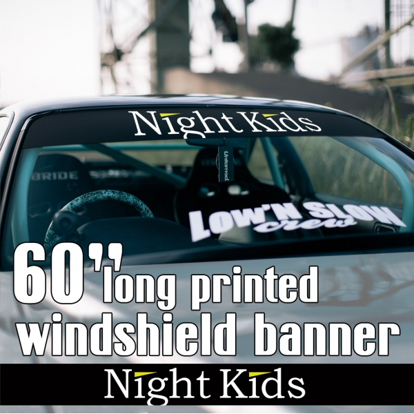 "60"" Myogi Night Kids Team v1 Initial D Skyline GT-R Civic SiR JDM Anime Manga Racing Sun Strip Printed Windshield Car Vinyl Sticker Decal>"