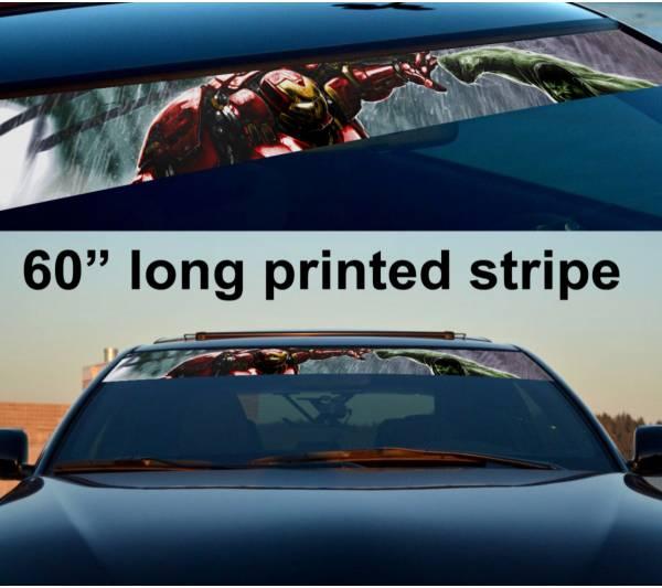 "60"" Iron Hulk Comics Battle Sun Strip Printed Windshield Car Vinyl Sticker Decal"