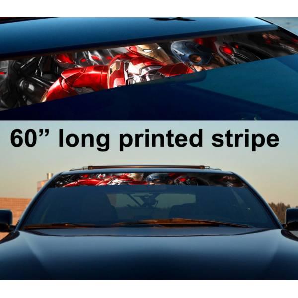 "60"" Iron Captain America Civil War Sun Strip Printed Windshield Car Vinyl Sticker Decal"