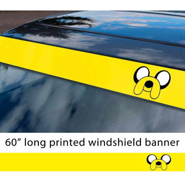 "60"" Jake v2 Cartoon JDM the Dog Adventure Time Sun Strip Printed Windshield Car Vinyl Sticker Decal>"