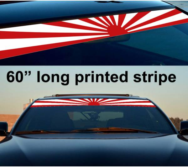 "60"" JDM Rising Sun Japan Daily Low Strip Printed Windshield Vinyl Sticker Decal"