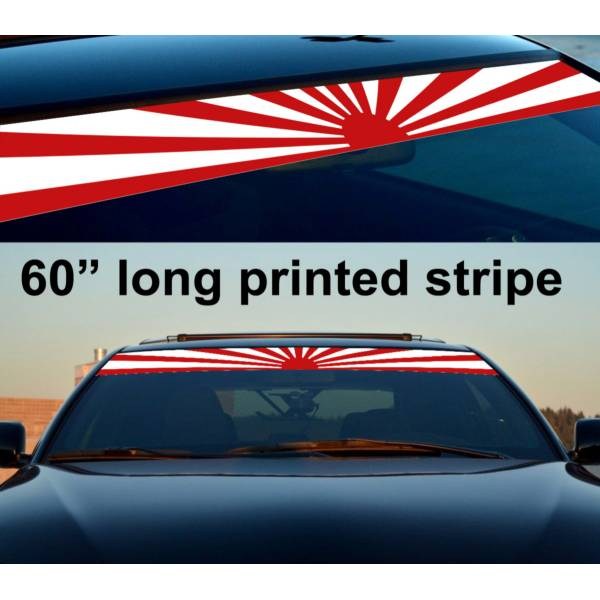 "60"" JDM Rising Sun Japan Daily Low Strip Printed Windshield Vinyl Sticker Decal>"