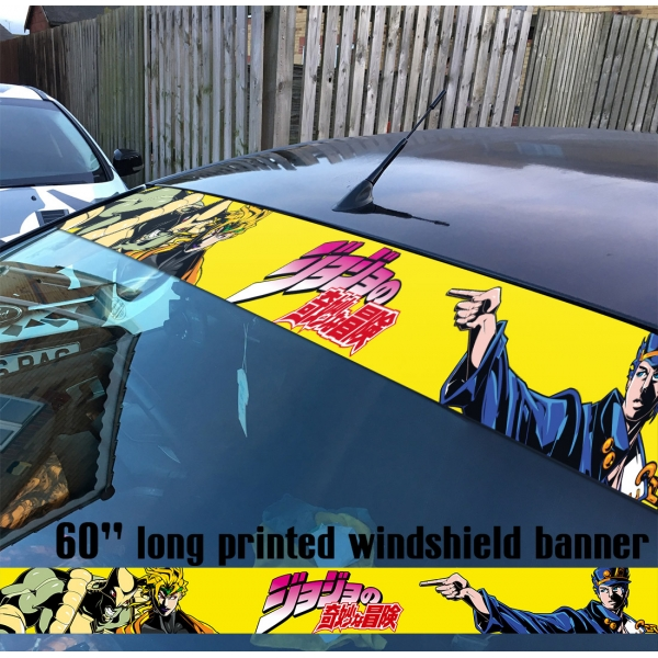 "60"" JoJo's Bizarre Adventure Jotaro Kujo Dio Brando The World Stardust Crusaders Manga Anime Sun Strip Printed Windshield Car Vinyl Sticker Decal"