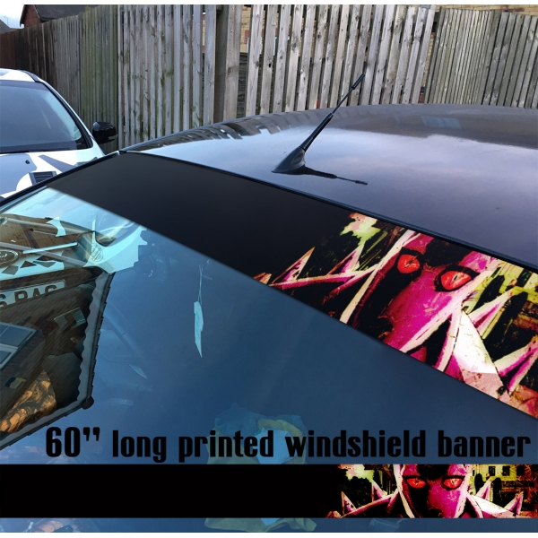 "60"" JoJo's Bizarre Adventure Diamond is Unbreakable Killer Queen Manga Anime Sun Strip Printed Windshield Car Vinyl Sticker Decal"