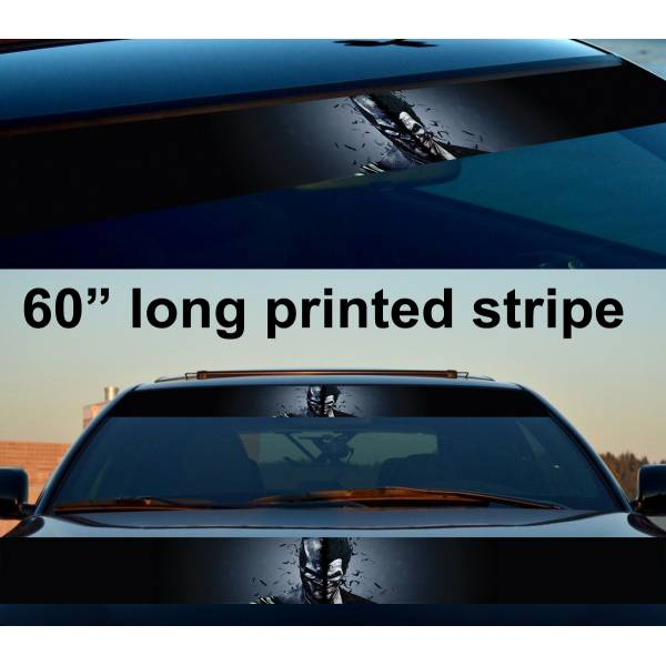 "60"" Bruce Wayne Hahaha Why So Serious Gotham Smile Sun Strip Printed Windshield Car Vinyl Sticker Decal>"