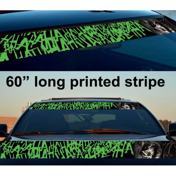 "60"" Joker Sketch Hahaha DC Why Seriuos Smile Sun Strip Printed Windshield Car Vinyl Sticker Decal"