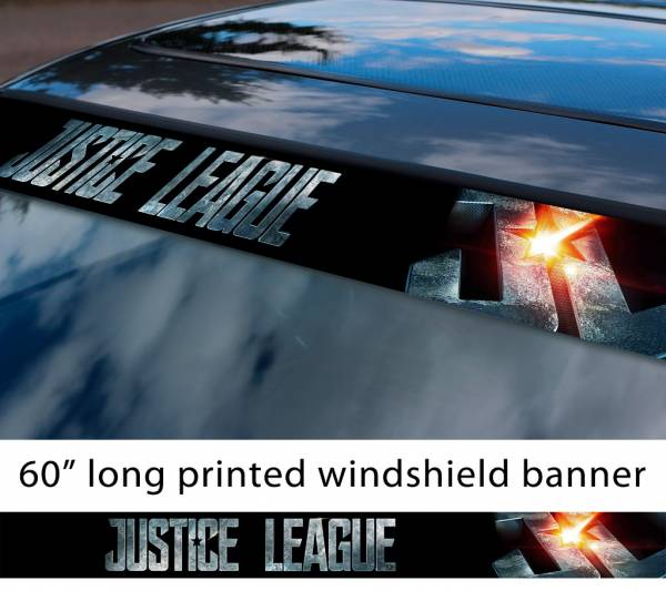 "60"" Justice League Movie Logo v1 Wonder Woman Batman Flash Cyborg Aquaman Sun Strip Printed Windshield Car Vinyl Sticker Decal"