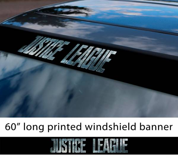 "60"" Justice League Movie Logo v2 Wonder Woman Batman Flash Cyborg Aquaman Sun Strip Printed Windshield Car Vinyl Sticker Decal"
