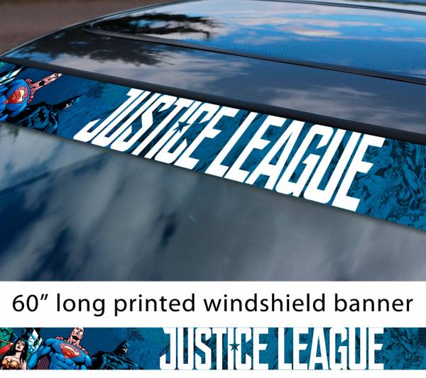 "60"" Justice League Movie Logo v4 Wonder Woman Batman Flash Cyborg Aquaman Sun Strip Printed Windshield Car Vinyl Sticker Decal"