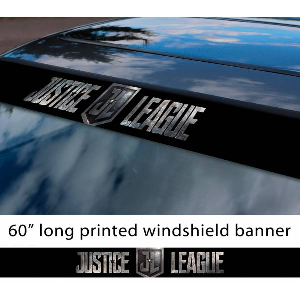 "60"" Justice League Movie Logo v3 Wonder Woman Batman Flash Cyborg Aquaman Sun Strip Printed Windshield Car Vinyl Sticker Decal"