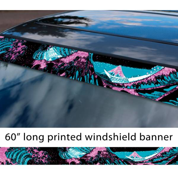 "60"" Great Wave Kanagawa JDM Stance Low Neon Style Sun Strip Printed Windshield Car Vinyl Sticker Decal>"