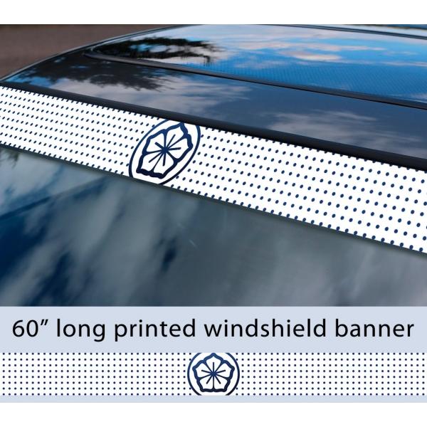 "60"" Karate Kid Lotus Flower Logo Daniel LaRusso Johnny Lawrence Mr. Miyagi Cobra Kai Sun Strip Printed Windshield Car Vinyl Sticker Decal"