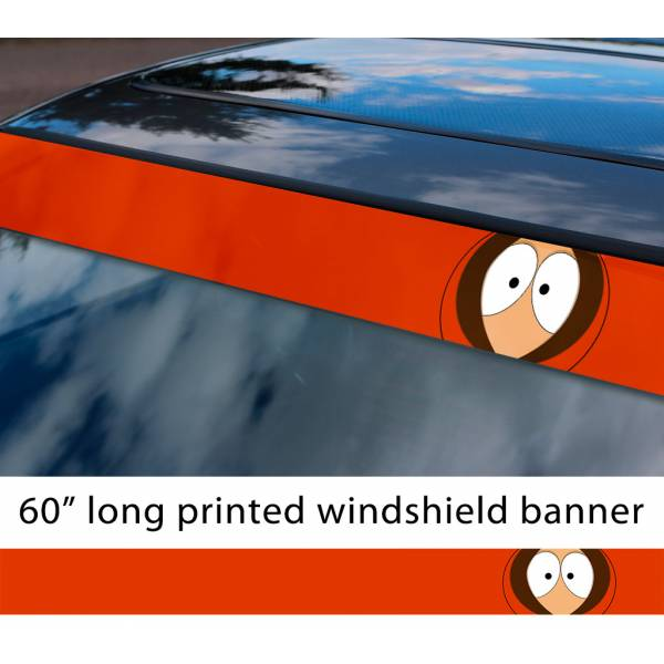 "60"" South Park Kenny McCormick They Kill Bastards Cartman TV Show Sun Strip Printed Windshield Car Vinyl Sticker Decal"