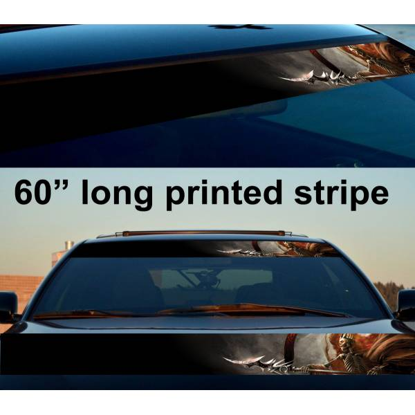 "60"" King Skull Blade Reaper Sun Strip Printed Windshield Car Vinyl Sticker Decal>"