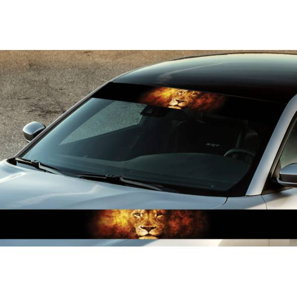 "60"" Lion v2 Flame King Wild Printed Windshield Banner Wrap Vinyl Sticker Car Truck"