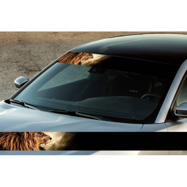 "60"" Lion v1 Scream King Wild Printed Windshield Banner Wrap Vinyl Sticker Car Truck>"