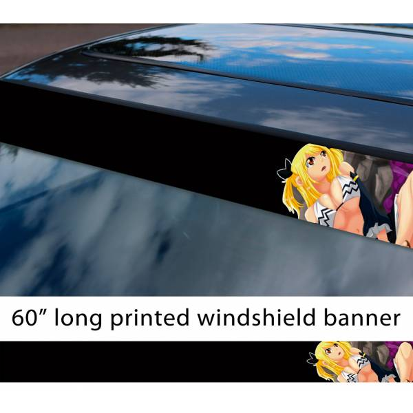 "60"" Fairy Tail Lucy Heartfilia Sexy Hot Boobs Ass v2 Anime Manga Sun Strip Printed Windshield Car Vinyl Sticker Decal>"