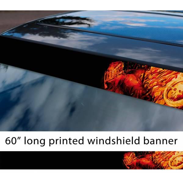 "60"" Mad Max Fury Road Flame Joe Logo Skull War Boys Lovely Sun Strip Printed Windshield Car Vinyl Sticker Decal"