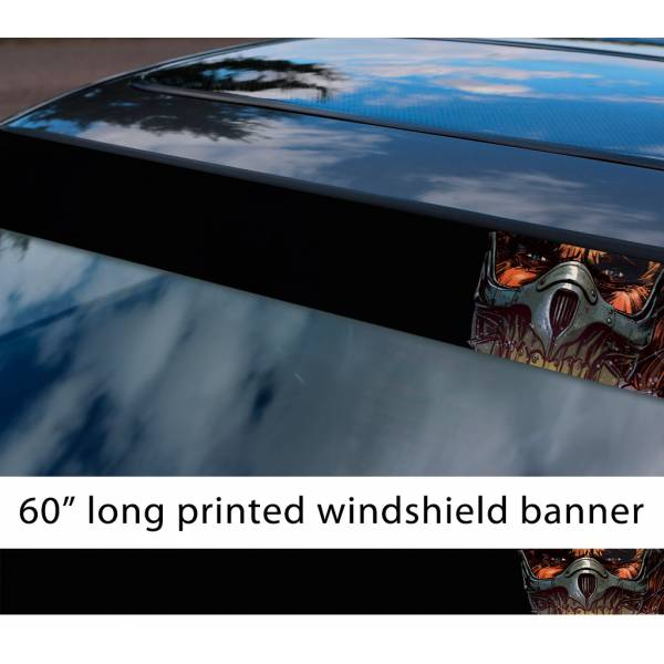 "60"" Mad Max Fury Road Immortan Joe Mask Citadel War Logo Skull Sun Strip Printed Windshield Car Vinyl Sticker Decal"