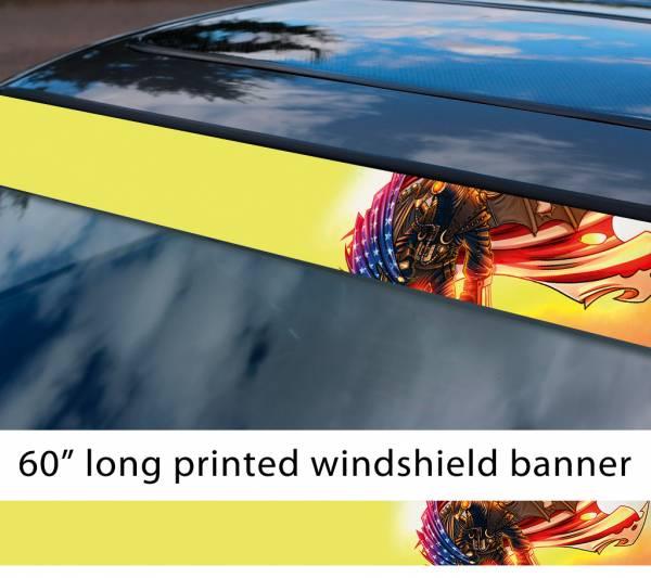 "60"" Robot Eagle Bioshock USA Flag Star Stripe American Printed Windshield Banner Vinyl Sticker Decal"