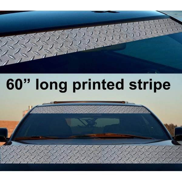"60"" Metal Pattern Diamond Sun Strip Printed Windshield Car Vinyl Sticker Decal"