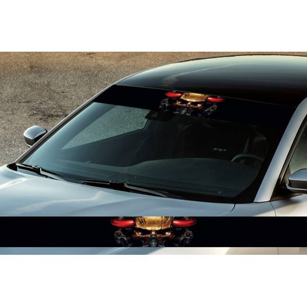 "60"" Tehno Skull Blood Metal Printed Windshield Banner Wrap Vinyl Sticker Car Truck"
