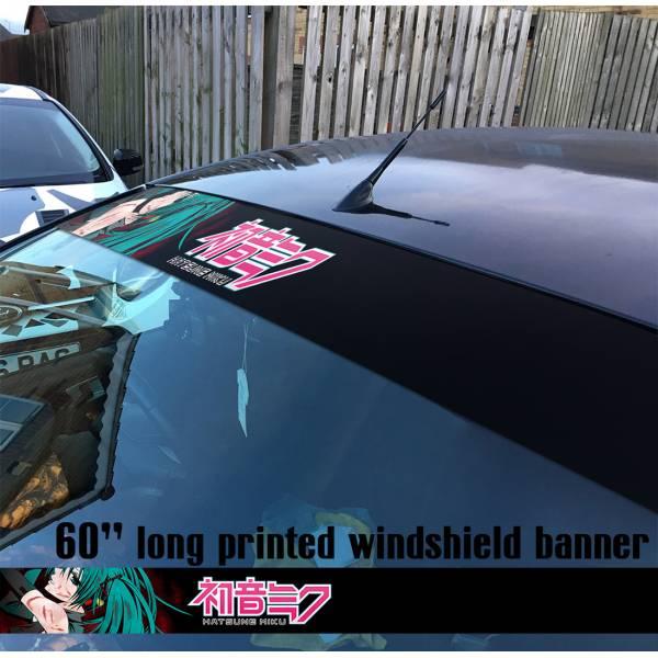 "60"" Hatsune Miku v3 Anime Girl Manga 初音ミク Sun Strip Printed Windshield Car Vinyl Sticker Decal"