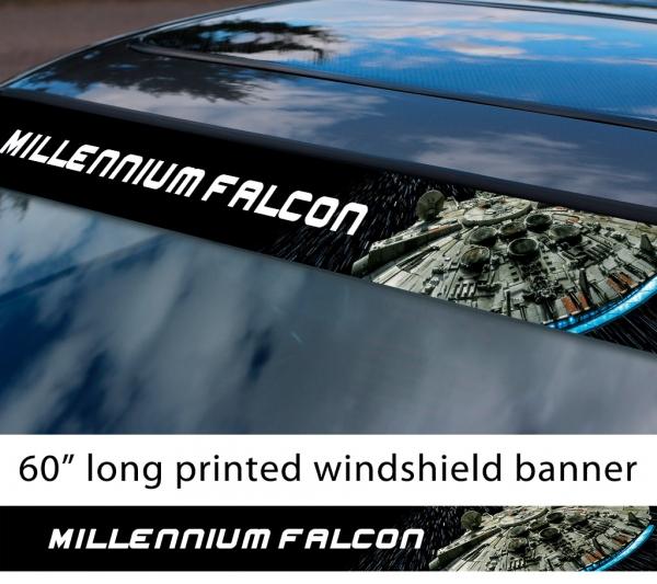 "60"" Millenium Falcon Starship Junk Galaxy Han Solo Chewbacca Star Wars Rebel Darth Galactic Empare Sun Strip Printed Car Vinyl Sticker Decal"