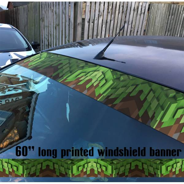 "60"" Minecraft v1 Sandbox Video Game Block Sun Strip Printed Windshield Car Vinyl Sticker Decal"