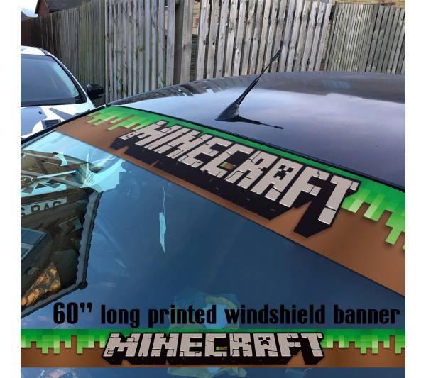 """60"""" Minecraft v2 Sandbox Video Game Block Sun Strip Printed Windshield Car Vinyl Sticker Decal"""