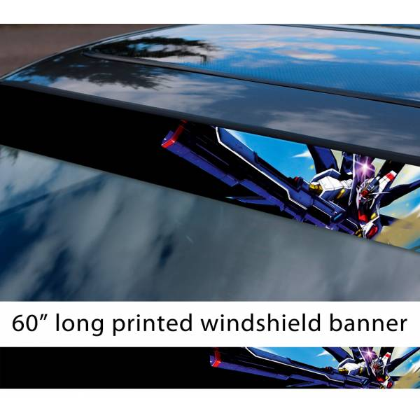 "60"" Mobile Suit Gundam v1 Earth Federation Zeon Amuro Ray RX-78 Anime Manga Sun Strip Printed Windshield Vinyl Sticker"