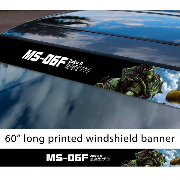 "60"" Mobile Suit Gundam MS-06F Zaku II 指揮官用ザクII Zeon Anime Manga Sun Strip Printed Windshield Vinyl Sticker"