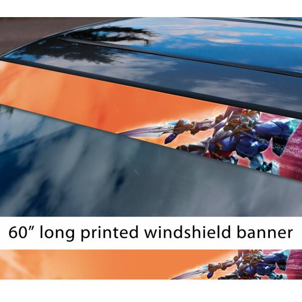 "60"" Mobile Suit Gundam v4 Earth Federation Zeon Amuro Ray RX-78 Anime Manga Sun Strip Printed Windshield Vinyl Sticker>"
