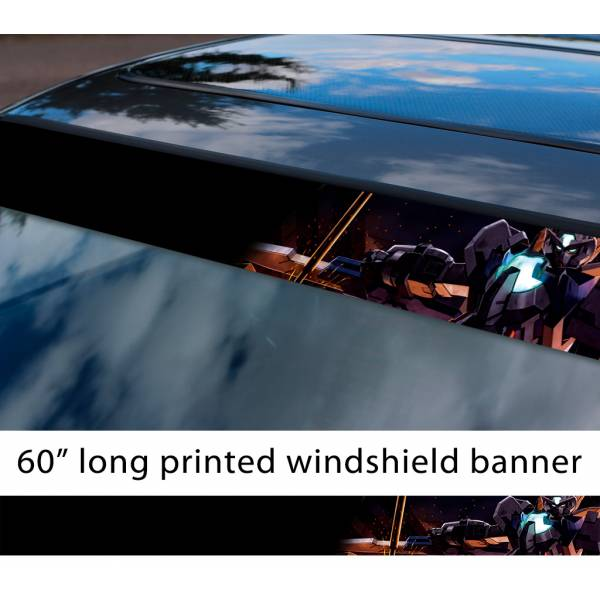 "60"" Mobile Suit Gundam v6 Earth Federation Zeon Amuro Ray RX-78 Anime Manga Sun Strip Printed Windshield Vinyl Sticker"