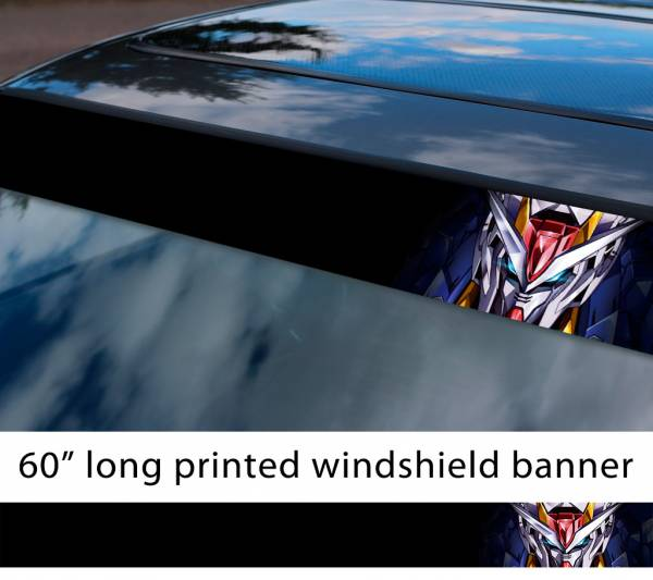 "60"" Mobile Suit Gundam v7 Earth Federation Zeon Amuro Ray RX-78 Anime Manga Sun Strip Printed Windshield Vinyl Sticker"