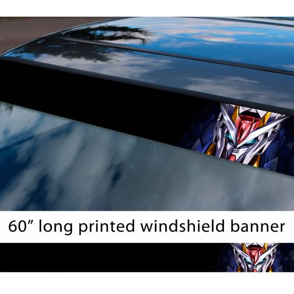 "60"" Mobile Suit Gundam v7 Earth Federation Zeon Amuro Ray RX-78 Anime Manga Sun Strip Printed Windshield Vinyl Sticker>"