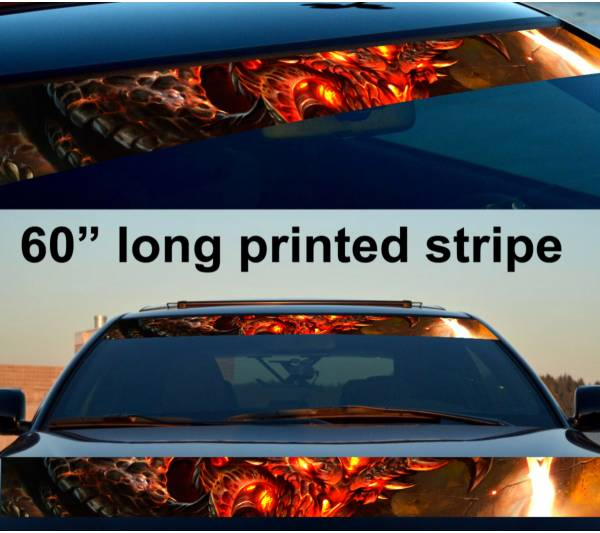 "60"" Monster v1 Hell Flame Hot Sun Strip Printed Windshield Vinyl Sticker Decal"