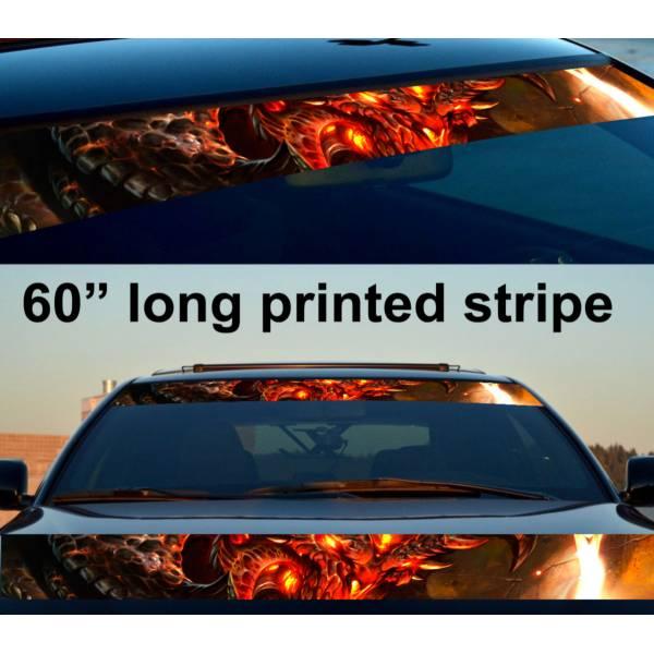 "60"" Monster v1 Hell Flame Hot Sun Strip Printed Windshield Vinyl Sticker Decal>"