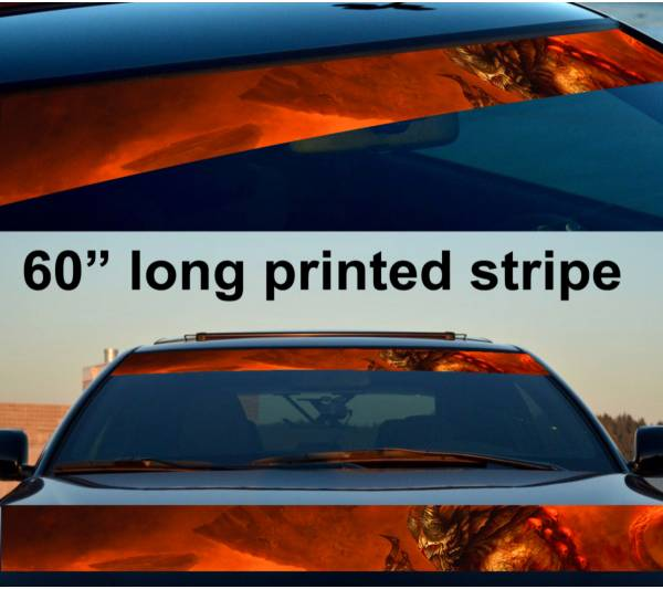 "60"" Monster v2 Hell Flame Hot Sun Strip Printed Windshield Vinyl Sticker Decal"