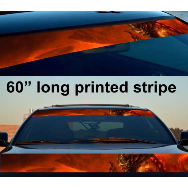 "60"" Monster v2 Hell Flame Hot Sun Strip Printed Windshield Vinyl Sticker Decal>"