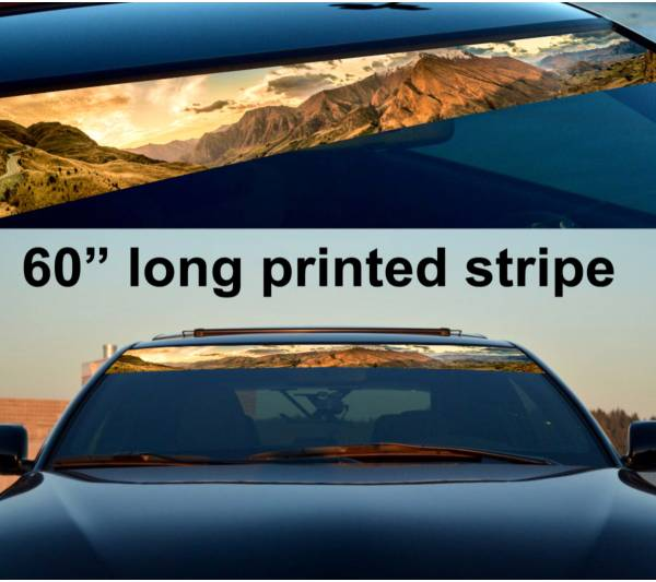 """60"""" Mountains Off Road Sun Strip Printed Windshield Graphics Vinyl Sticker Decal"""
