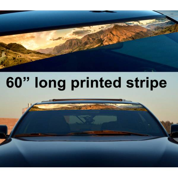 "60"" Mountains Off Road Sun Strip Printed Windshield Graphics Vinyl Sticker Decal>"
