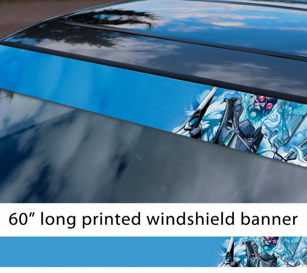 "60"" Mr Freeze Victor Fries Zero Batman Comics Gotham Superhero DC Sun Strip Printed Windshield Car Vinyl Sticker Decal"