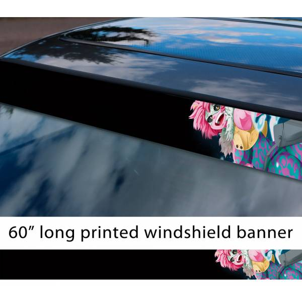 "60"" My Hero Academia v11 Mina Ashido Pink Team Bakugo Anime Manga Girl Sexy Sun Strip Printed Windshield Car Vinyl Sticker Decal"