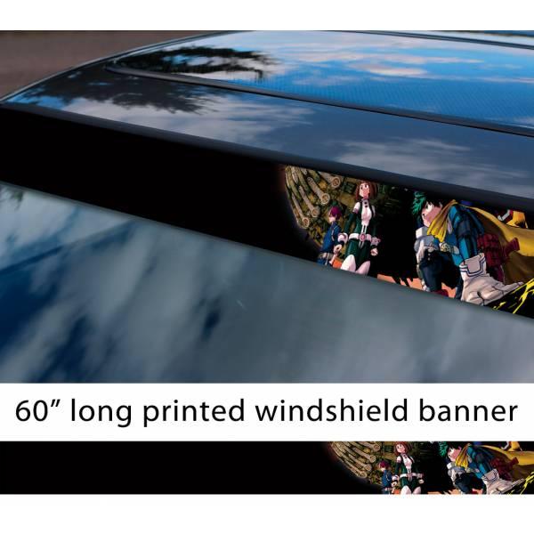 "60"" My Hero Academia v3 Izuku Quirk Ochaco Shoto Anime Manga Sun Strip Printed Windshield Car Vinyl Sticker Decal"
