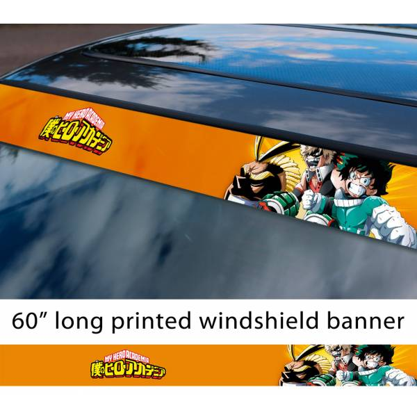 "60"" My Hero Academia v4 Izuku Quirk Katsuki All Might Anime Manga Sun Strip Printed Windshield Car Vinyl Sticker Decal>"