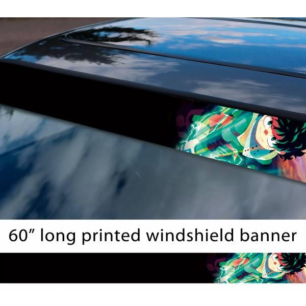"60"" My Hero Academia v5 Izuku Midoriya Deku One For All Quirk Anime Manga Sun Strip Printed Windshield Car Vinyl Sticker Decal"