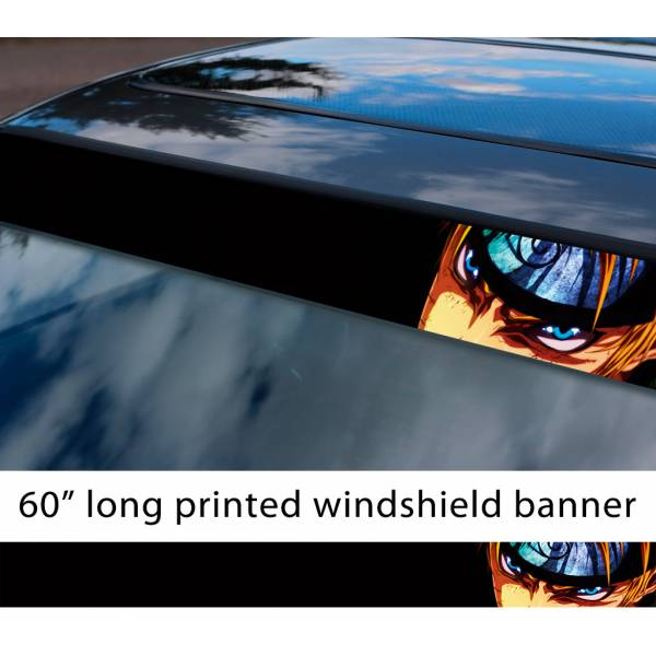 "60"" Naruto v1 Uzumaki Nine-Tails Konoha Sasuke Uchiha Sakura Haruno Anime Manga Sun Strip Printed Windshield Car Vinyl Sticker Decal>"